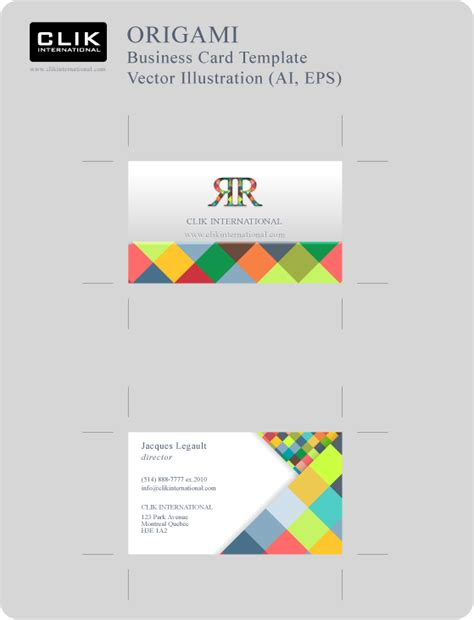 Business Cards Ai Template origami business card template v 1 business card