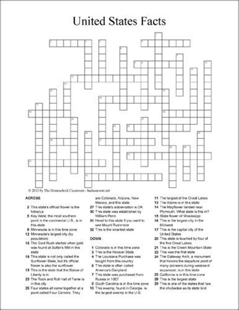 printable africa puzzle u s state facts crossword puzzle printable homeschool