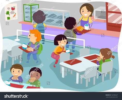 Creating A Kitchen Breakfast illustration kids canteen buying eating lunch stock vector