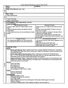 Free Guided Reading Lesson Plans Adapted From Jan Richardson S The Next Step In Guided Reading Jan Richardson Pre A Lesson Plan Template