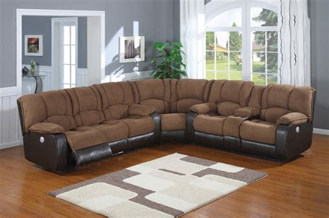 Suede Reclining Sofa by Ac Pacific Tuft Mocha Polyester Suede Reclining Sectional