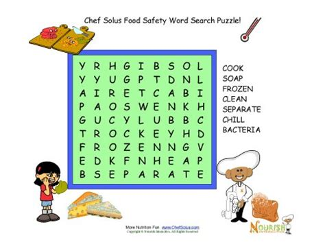 Find Refreshment For Your by Food Safety Word Search Puzzle For 7 Words Safety