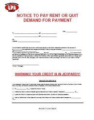 Notice To Pay Rent Or Quit Eviction Notice Free Notice To Pay Rent Or Quit Template