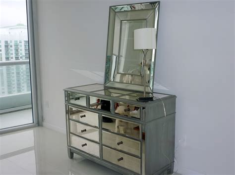 Mirrored Bedroom Dresser Mirrored Dresser Design Features Mirrored Drawers Bronze Handling And Stainless Steel Table L