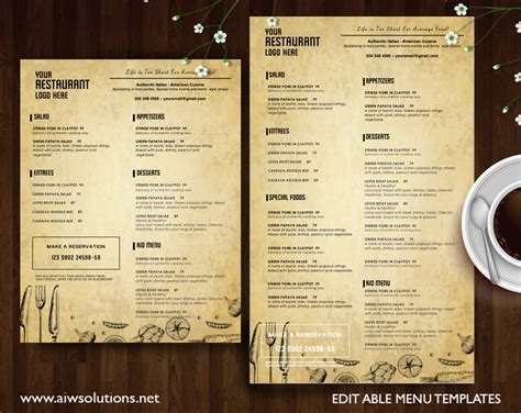 menu book template graphic design name card template business card template