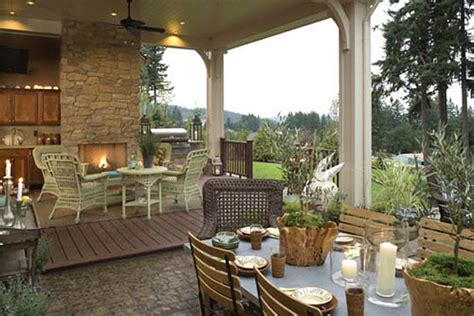 homes with outdoor living spaces sizzling outdoor kitchen designs the house designers