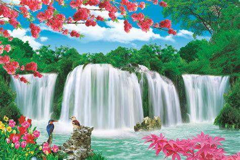 beautiful scenery waterfall paper painting buy natural