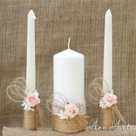 rustic wedding set unity candles and chagne glasses country - Wedding Unity Candle