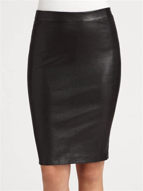 vince leather pencil skirt in black lyst