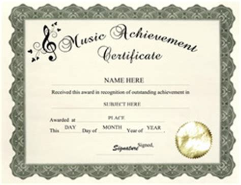 templates for music certificates free templates for high school certificate templates