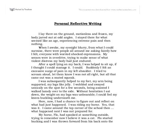 Exles Of Personal Reflective Essays by Personal Reflection Paper Exles