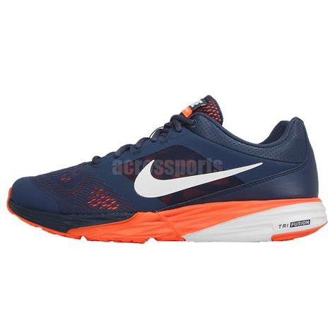 nike tri fusion run msl navy orange white mens running