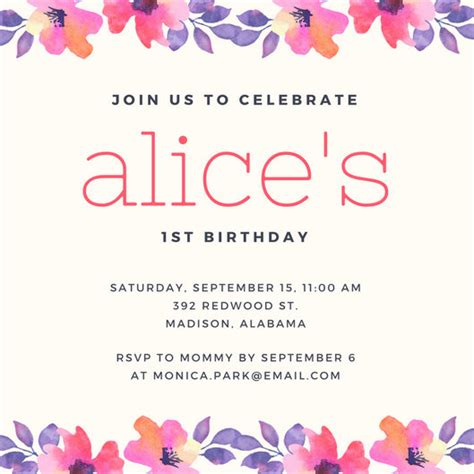 Happy Birthday Invites Template by 1st Birthday Invitation Templates Canva