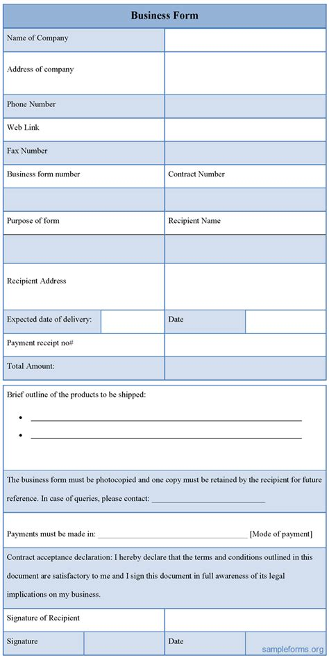 business form free business form sle forms
