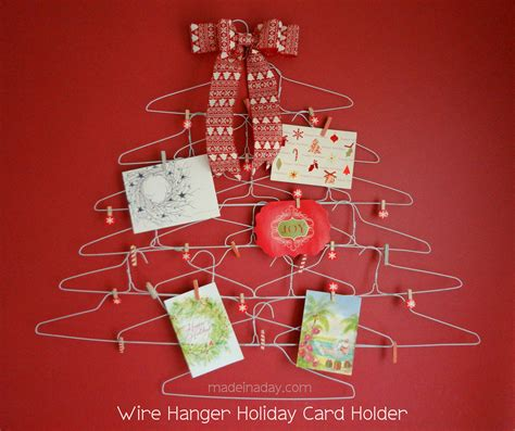quirky wire hanger holiday card holder made in a day