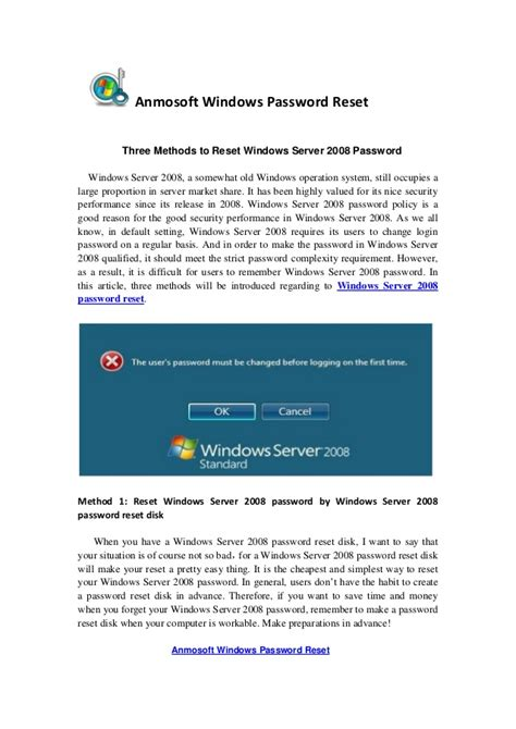 windows reset password share three methods to reset windows server 2008 password