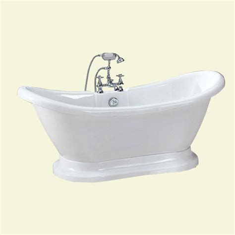 homedepot bathtubs dreamwerks 5 75 ft acrylic pedestal bathtub in white