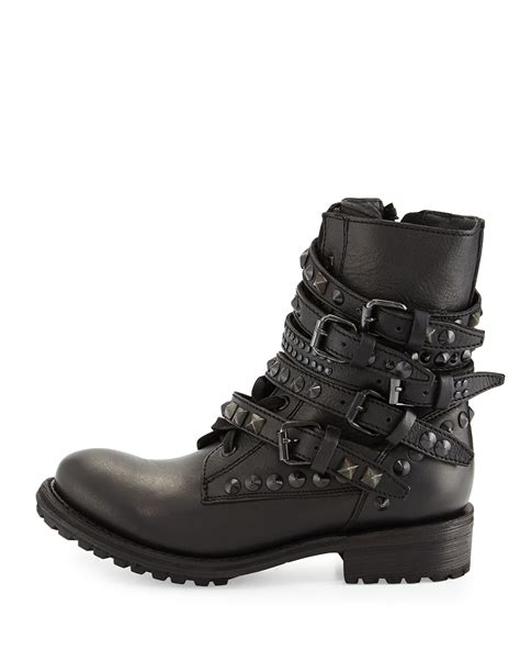 womens black leather moto boots lyst ash rebel studded leather moto boots in black