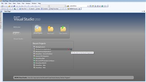 visual studio project template sp1 for vs 2010 tooloading