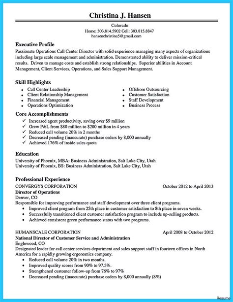 Telephone Center Supervisor Resume by Call Center Manager Resume Exle Format For