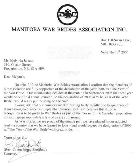 Official Letter Format Canada Jarratt War