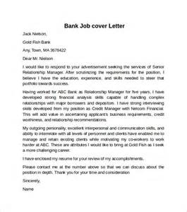 cover letter for a bank cover letter exle for 10 free documents