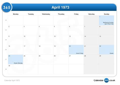 easter 1973 calendar calendar april 1973