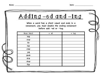 ed pattern words adding ed or ing to cvc pattern words by terrific