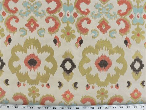Poppy Upholstery Fabric Drapery Upholstery Fabric Ikat Floral Lime Orange Sky