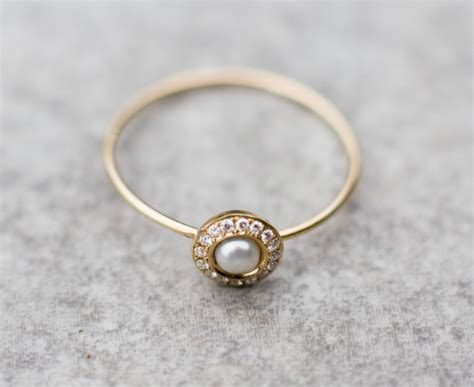 Wedding Rings With Pearls by White Pearl Wedding Ring With Diamonds In 14k Gold Pearl