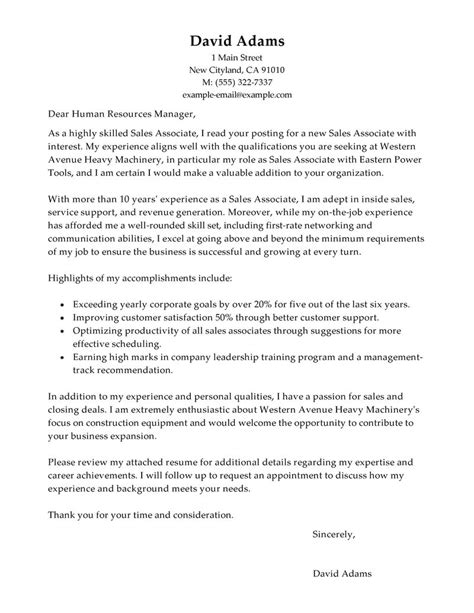sales associate cover letter exles customer service cover letter exles livecareer