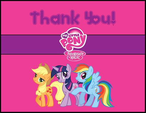 my little pony printable thank you cards my little pony thank you card instant download