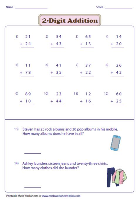 Digit Addition Worksheets by Free Worksheets 187 2 Digit Addition With Regrouping Free