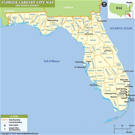 florida usa map cities largest cities in florida by population