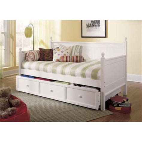 day bed walmart twin size wood daybed in white finish w trundle walmart com