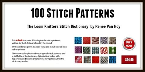 types of loom knitting stitches the loom knitters stitch dictionary 500x250 loomahat