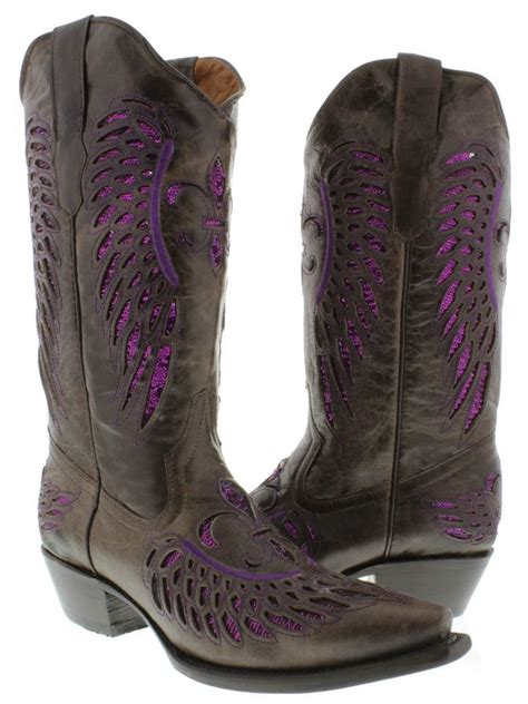 new brown purple womens cowboy boots sequins