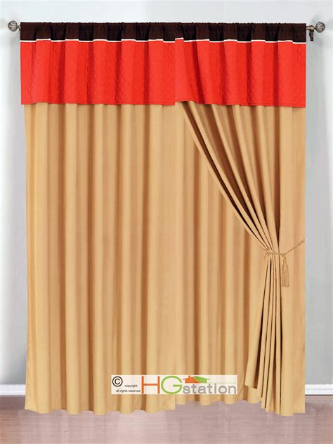 brown gold curtains 4p clover trellis floral curtain set orange brown gold