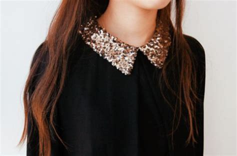 blouse black blouse sequins collared shirts collar