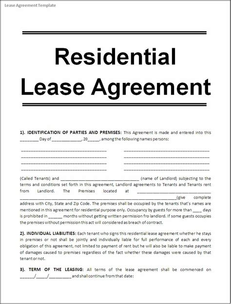 contract rental agreement template printable sle free lease agreement template form real