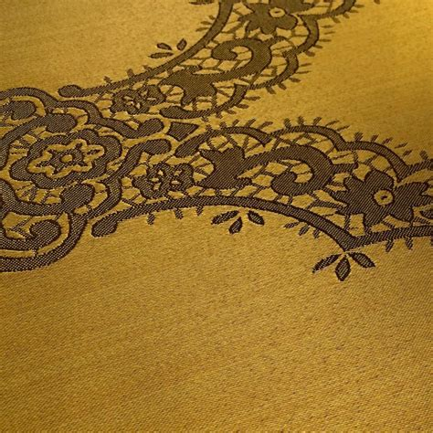 Muslin Voile Curtains Gold Amp Gold Jacquard Damask Print Fabric 120 Quot Wide