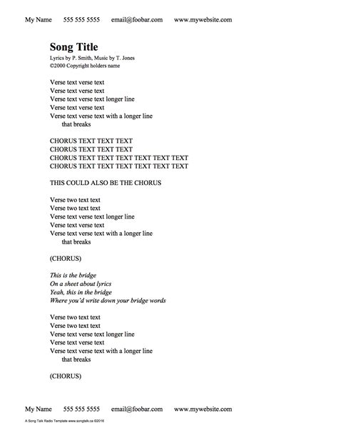 Lyric Template Free Creating Lyric Sheets That Don T Suck Song Talk Radio With Bruce Neel Phil