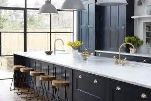 vintage navy kitchen design with brass hardware digsdigs