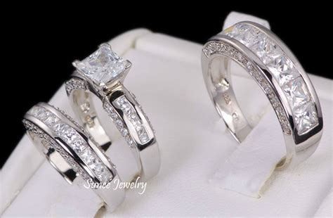 3pcs his and hers 925 sterling silver wedding bridal