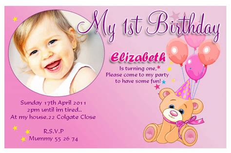 1st year birthday card template 20 birthday invitations cards sle wording printable