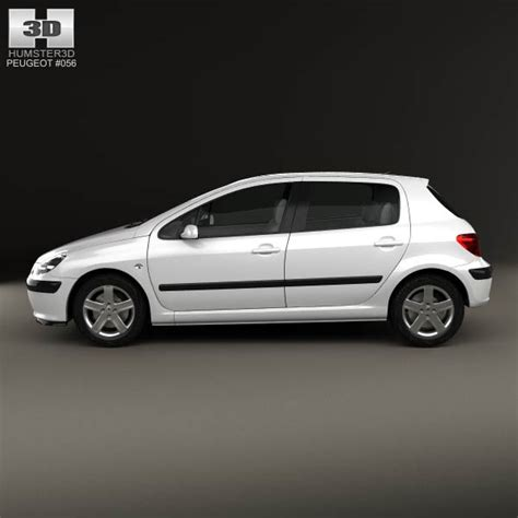 peugeot hatchback models peugeot 307 5 door hatchback 2001 3d model humster3d
