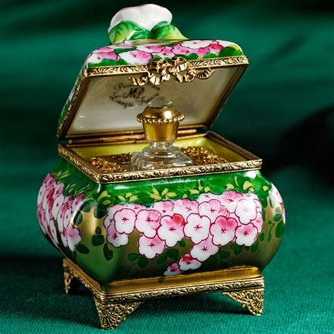 limoges green chest  roses perfume bottle box