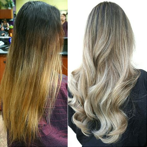 formula blue gray sombre hair color modern salon transformation banded old ombre to steely blonde sombre