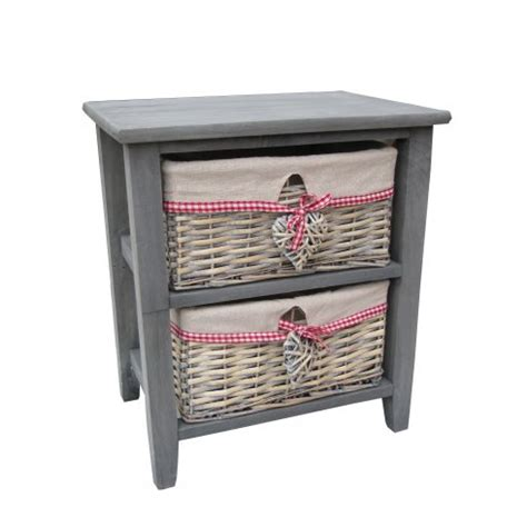 grey wooden bedside table with 2 grey wash wicker baskets
