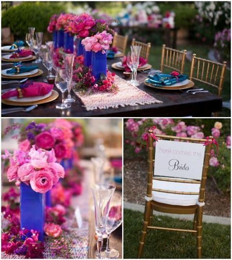 Pink & Cobalt Blue Lesbian Wedding Table Details {Cakes